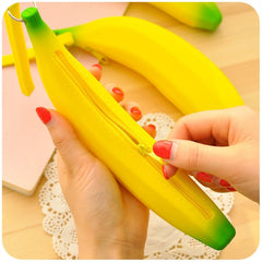 1 X Kawaii Unisex Men Women Girls Novelty Silicone Portable Banana Pouch Keyring
