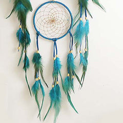 Wall Hanging Dreamcatcher Craft Gift Handmade Indian Blue Dream Catcher Net with feathers