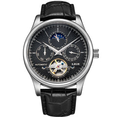Automatic Watch tourbillon Leather Casual Wristwatch for Man