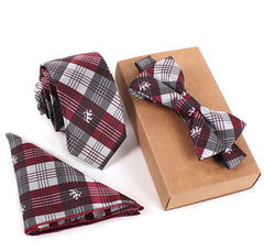 Mens Suit Dot Necktie & Pocket Square Towel & Bow Tie Set Wedding Handkerchief