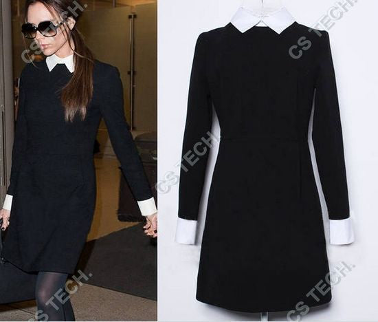Fashion Victoria Beckham Dress Slim Elegant Turn-down Collar Long Sleeve Black