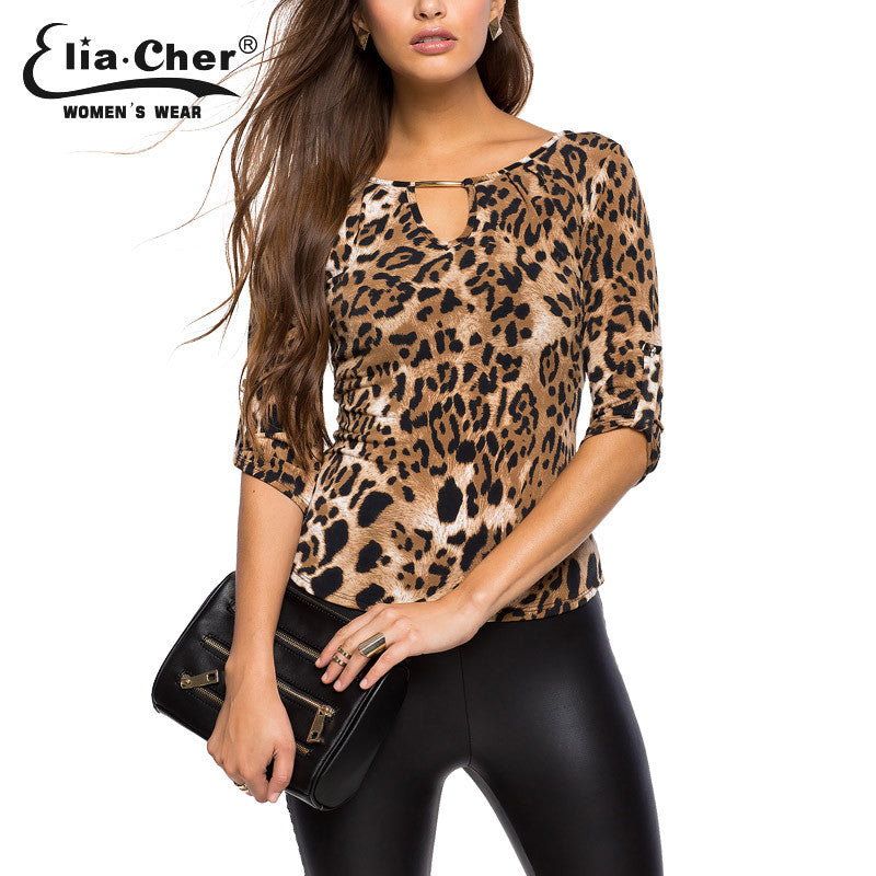 Half Sleeve Women Top Shirt Elia Cher Plus Size Casual Women Clothing