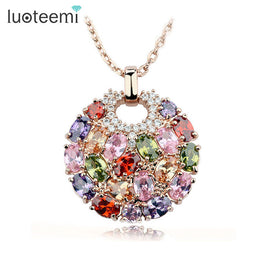 Rose Gold Plated Multicolor Cubic Zirconia Big Round Necklace Pendant for Women