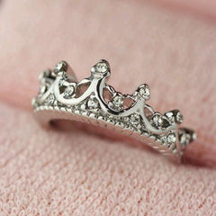 Korean Style Retro Crystal Drill Hollow Crown Shaped Queen Temperament Rings For Women