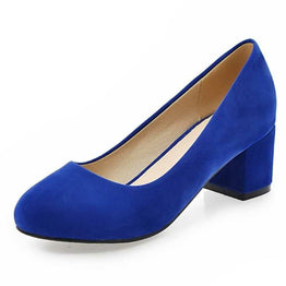 Plus Size 33-43 Women Casual Dress Flock Upper Round Toe Pumps Shoes