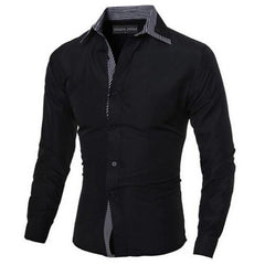 Men Stylish Slim Fit Male Shirt Solid Long Sleeve