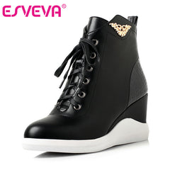 ESVEVA Sequined Platform Fashion Wedges Boots