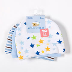 3pcs Luvable Baby Hats in Pink/Blue Star Printed Accessories