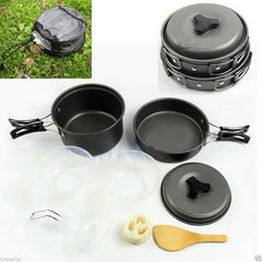 Onfine new arrivel 8pcs Outdoor Camping Backpacking Cooking Picnic Bowl Pot Pan Set