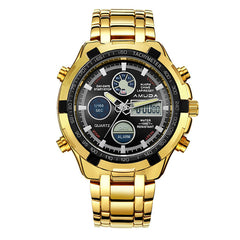 AMUDA Brand Gold Watch Men LED Display Calendar Quartz Wrist Watch