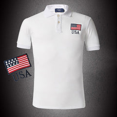 Men Polo Shirt Flag Style Black Yellow White