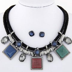 Crystal Collares Square Necklaces & Earrings Jewelry Set