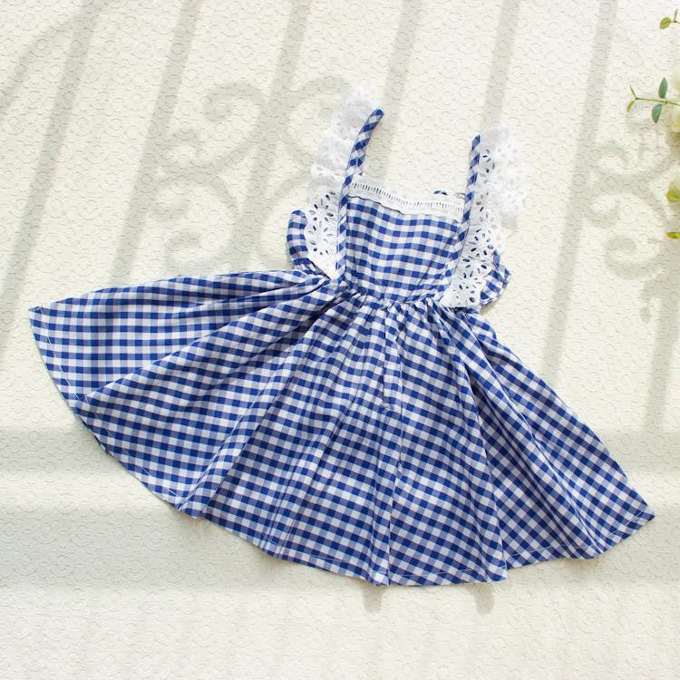 Little Girls Dresses Fly Sleeve Baby Clothes Princess Plaid Elastic Lace Child Kid's Dress