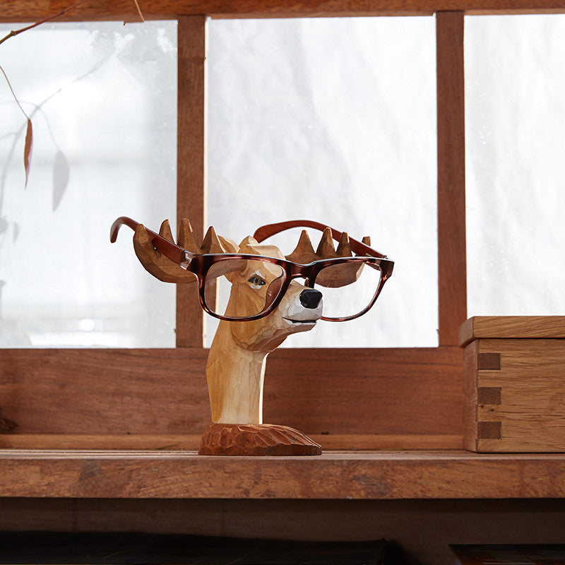Deer /Dog /Horse Hand-carved Glasses Stand Wood Carving Crafts Sunglasses Stand Holder Rack