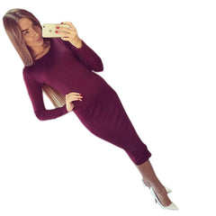 Long Sleeve Knee Length Midi Dress Slim Bodycon Bandage Black Wine Red Women Dresses