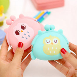 Mini Candy Colored Owl Design Silicone Small Pouch for Girls