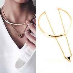 Big Gold Circle Necklace with Triangle Pendant Chain for Girls
