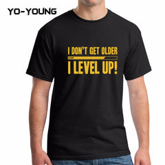 Yo-Young Funny Letters Design Golden PU Printed Cotton T Shirts