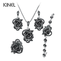 Black Crystal Plating Ancient Silver 4Pcs/Sets Vintage Jewelry Set