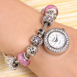 Women Beaded Bracelet Luxury Watch Women Fashion Heart Band Dress Wristwatch