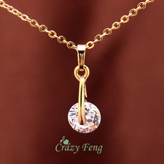 Yellow Gold Plated CZ Diamond Pendant Necklace Earrings Set for Women