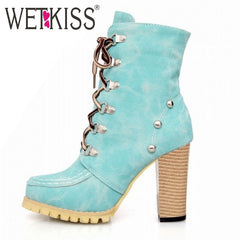 WETKISS Rivets Punk Style Gladiator Boots for Women