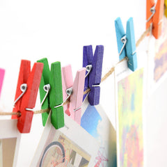 Beautiful Design 35mm Mini Wooden Craft Pegs Clothes Paper Photo Hanging Spring Clips 20pcs