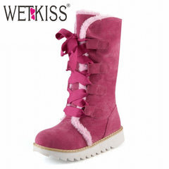 WETKISS Lovely Lace up Fur Snow Half Knee Flat Heel Platform Boots
