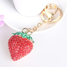 Lovely Charm Red Strawberry Crystal Pendent Key Ring