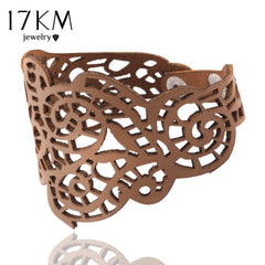 Faux Leather Braided Hollow Design Wristband Bracelets For Women