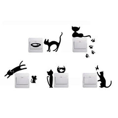 1 Set of 5pcs Removable Cute Lovely Cat Switch Wall Sticker