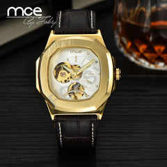 MCE Fashionable Skeleton Military Clock Leather Casual Automatic Self Wind Watch