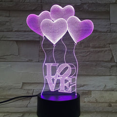 LOVE 3D 4Hearts Birthday Gift Desk Lamp Night Lights