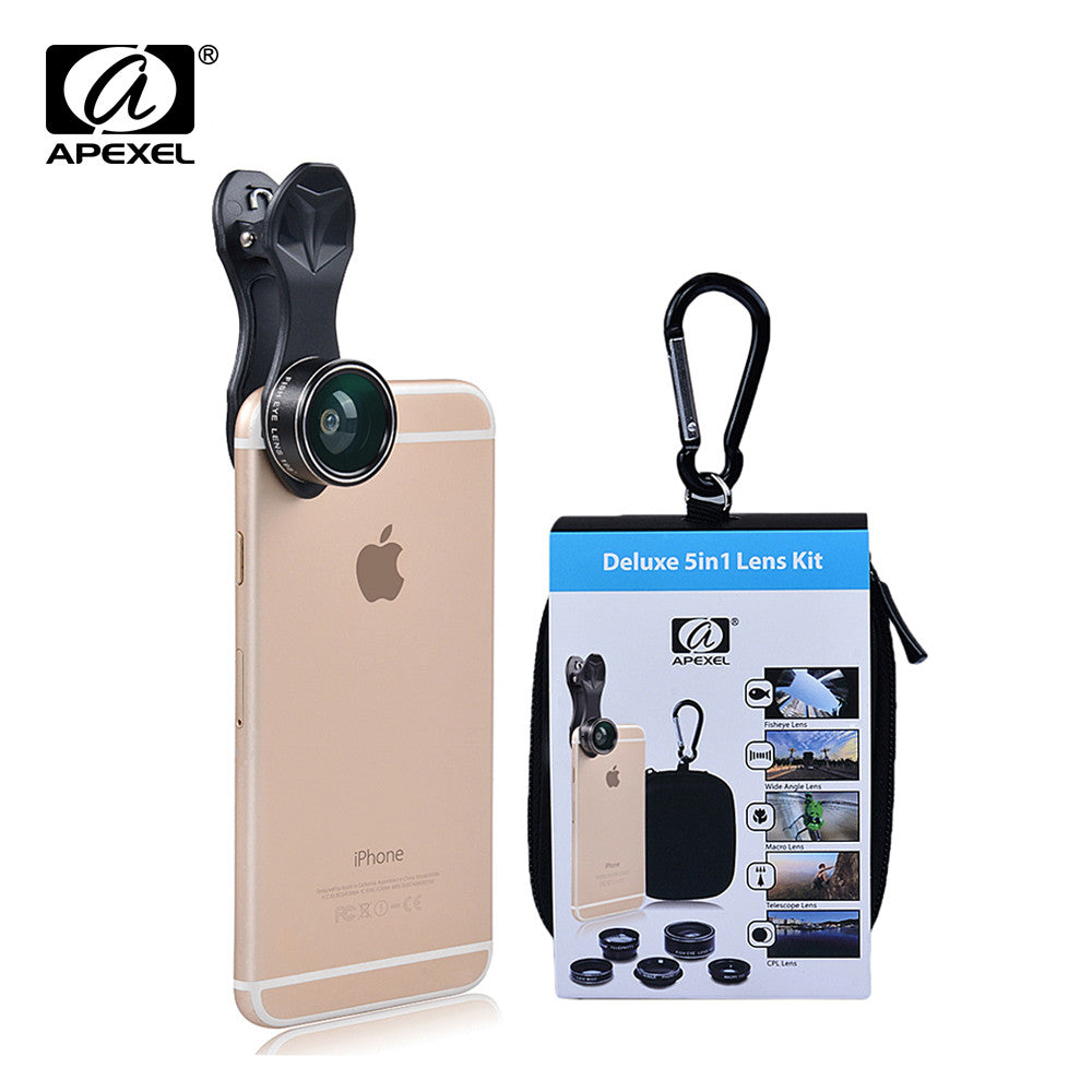 APEXEL Universal Clip 5 in 1 Camera Lens Kit for iPhone Samsung Smart phones Lenses
