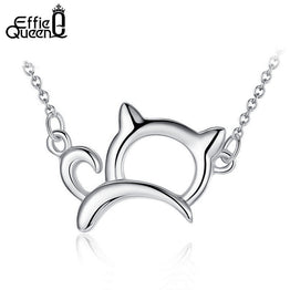 Platinum Plated Cute & Lucky Cat Pendant Necklace for Women