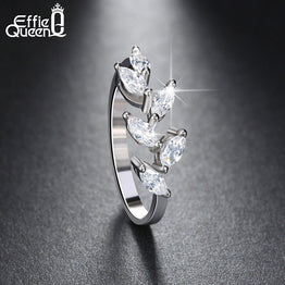 White Gold Plated Leaf Shape Cubic Zircon Stone Ring for Women