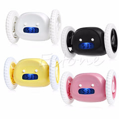 LCD Display Running Alarm Clock Creative Moving Wheels