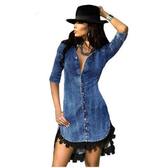 Half Sleeve Shirt Trim Button Down Denim Shirt winter party Dress