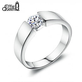 Platinum Plated Effie Queen Zircon Ring for Men / Women