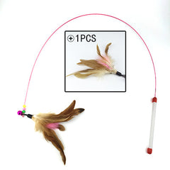 Pet cat toy 110cm Cute Design Steel Wire Feather Teaser Wand Plastic Toy for cats