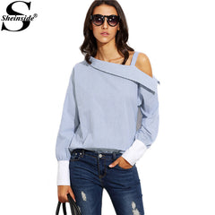 Striped Fold Over Asymmetric Shoulder Cuff Shirt Long Sleeve Buttons Blouse