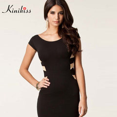 Elegant Kinikiss women black pencil slim bandage sexy dress for girls party wear