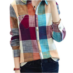 Vintage Plaid Shirt Women Fashion Ladies Tops Women Blouses
