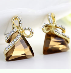Austrian Crystal Rhinestone Gold Triangle Bow Earrings For Women