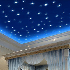 100PCS 3D Glow Star Wall Stickers Glow In The Dark Decal Baby Kids Room Decor