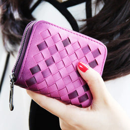 New Fashion Hand Woven PU Leather Cute Wallet for Women