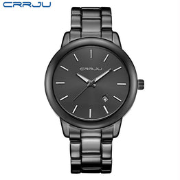 CRRJU Black Full Steel Quartz Movement Couple Watch