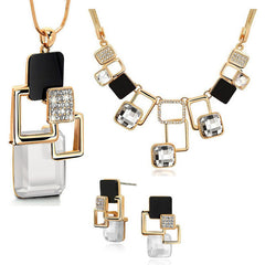 European and American fashion 3p Golden Hollow Big Stone Jewelry Sets