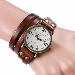 Punk Style Casual Leather Bracelet Watch for Women