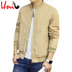 Uni-Splendor Autumn Man Jackets Solid Fashion Coats Male Casual Slim Stand Collar